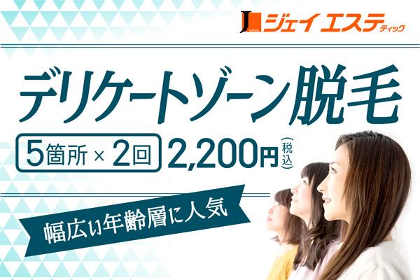 【脱毛】デリケートゾーン脱毛5箇所×2回  2,200円(税込)